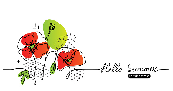 Hello summer vector web banner with poppies flowers. Summer floral simple, minimalist sketch illustration with editable stroke. One continuous line drawing banner