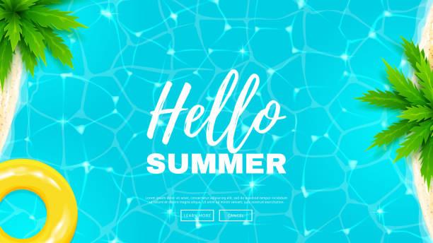 ilustrações, clipart, desenhos animados e ícones de olá verão banner web - viagem de primeira classe