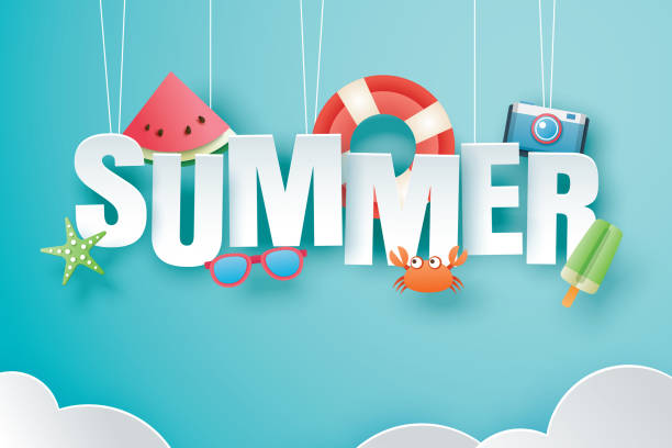 ilustraciones, imágenes clip art, dibujos animados e iconos de stock de hola verano con decoración origami colgando sobre fondo azul cielo. arte de papel y estilo artesanal. vector ilustración de la vida anillo, helado, cámara, sandía, gafas de sol. - verano