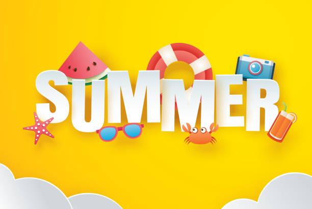 illustrations, cliparts, dessins animés et icônes de bonjour l'été avec la décoration en origami sur le fond jaune ciel. art du papier et style artisanal. illustration vectorielle de bague de vie, appareil photo, pastèque, lunettes de soleil, jus d'orange. - sky