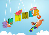 Hello summer with decoration.