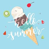 Hello summer with Ice cream on blue background.