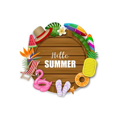 Hello summer wooden board with summer vector