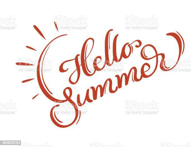 Hello summer words on white background frame calligraphy lettering vector id652620754?b=1&k=6&m=652620754&s=612x612&h=grjsacq7t nzg9capbdxhttmoi0h zbrt5tmlognh1e=