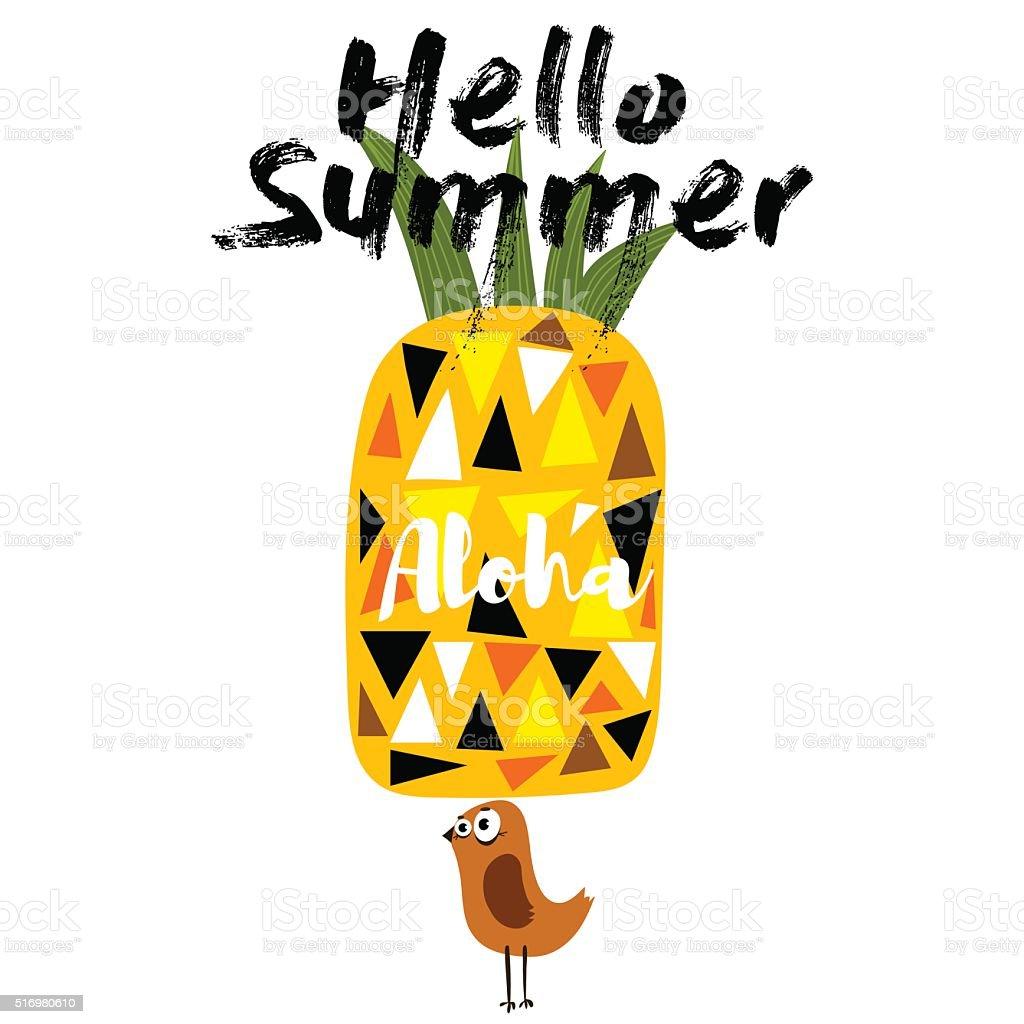 Hola verano-concepto con ananá y con dosel y aves. - ilustración de arte vectorial