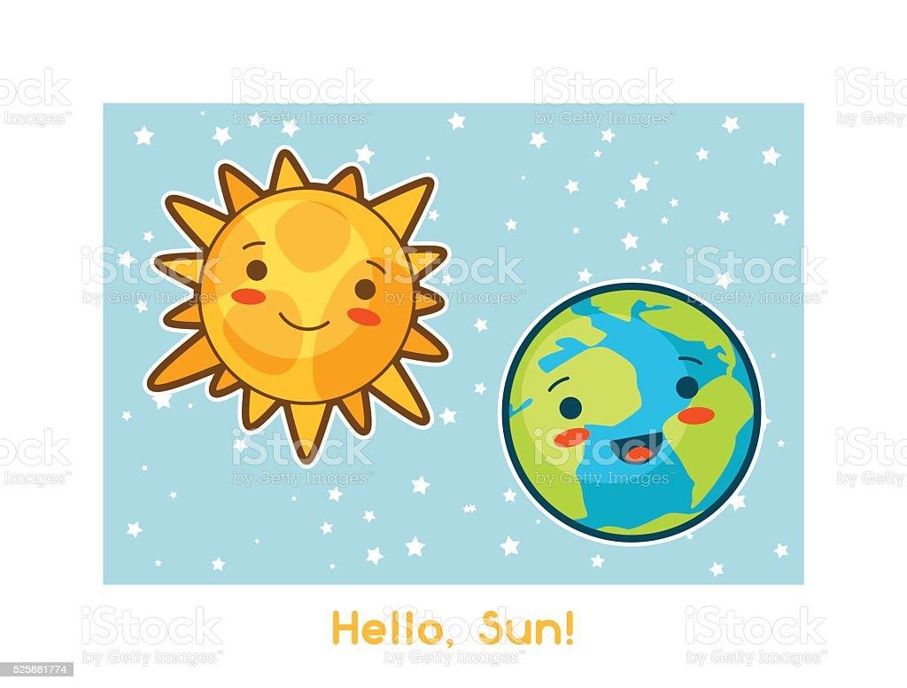 Ilustración De Hola Sol Kawaii Espacio Gracioso Tarjeta