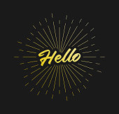 Hello. Sunburst Line Rays. For Greeting Card, Poster and Web Banner. Vector Illustration, Design Template.