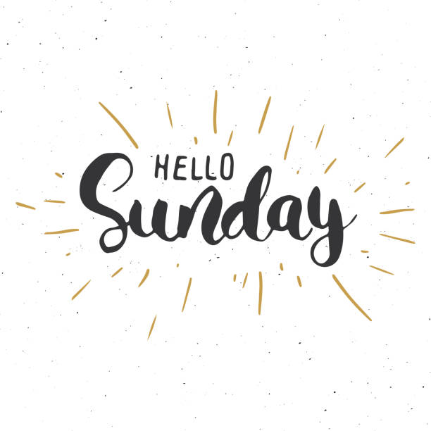 Hello Sunday lettering quote, Hand drawn calligraphic sign. Vector illustration Hello Sunday lettering quote, Hand drawn calligraphic sign. Vector illustration. sunday stock illustrations