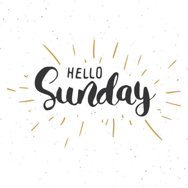 こんにちは日曜日引用をレタリング手書き書道のサイン。ベクトル図 - 週末の予定点のイラスト素材/クリップアート素材/マンガ素材/アイコン素材