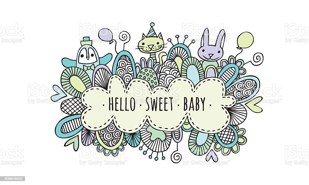 Hello Sweet Baby Boy Hand Drawn Doodle Vector vector art illustration
