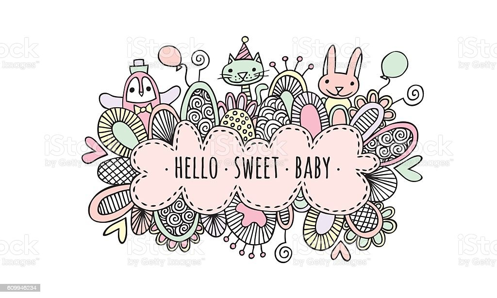 Hello Sweet Baby Girl Hand Drawn Doodle Vector vector art illustration