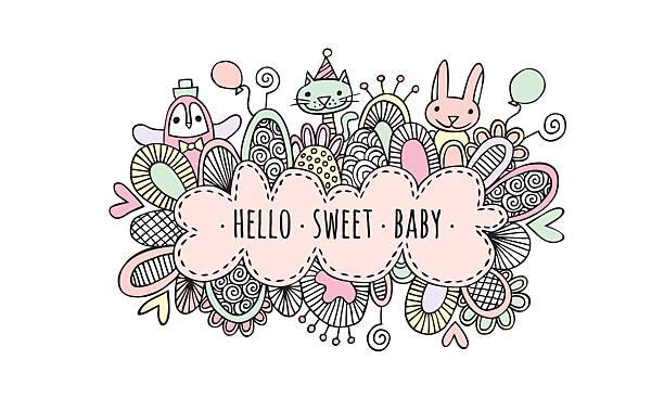 ilustrações, clipart, desenhos animados e ícones de hello sweet baby girl hand drawn doodle vector - novo bebê