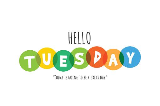 Hello Tuesday lettering stock illustration