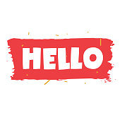 Hello! Vector illustration. Lettering.