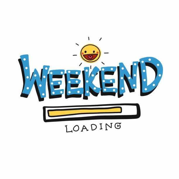 您好週末載入字和可愛的太陽微笑向量插圖 - bar 幅插畫檔、美工圖案、卡通及圖標
