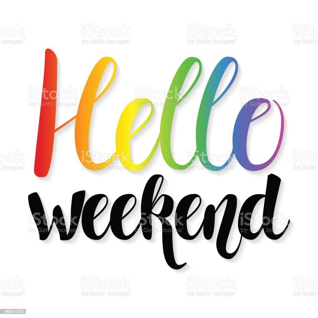 Hello Weekend quote - ilustração de arte em vetor