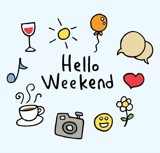 こんにちは週末 - 週末の予定点のイラスト素材/クリップアート素材/マンガ素材/アイコン素材