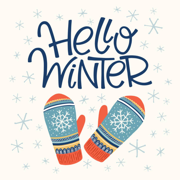 Hello winter card Vector hand drawn lettering Hello winter with mittens. Christmas greeting card and invitation. mitten stock illustrations