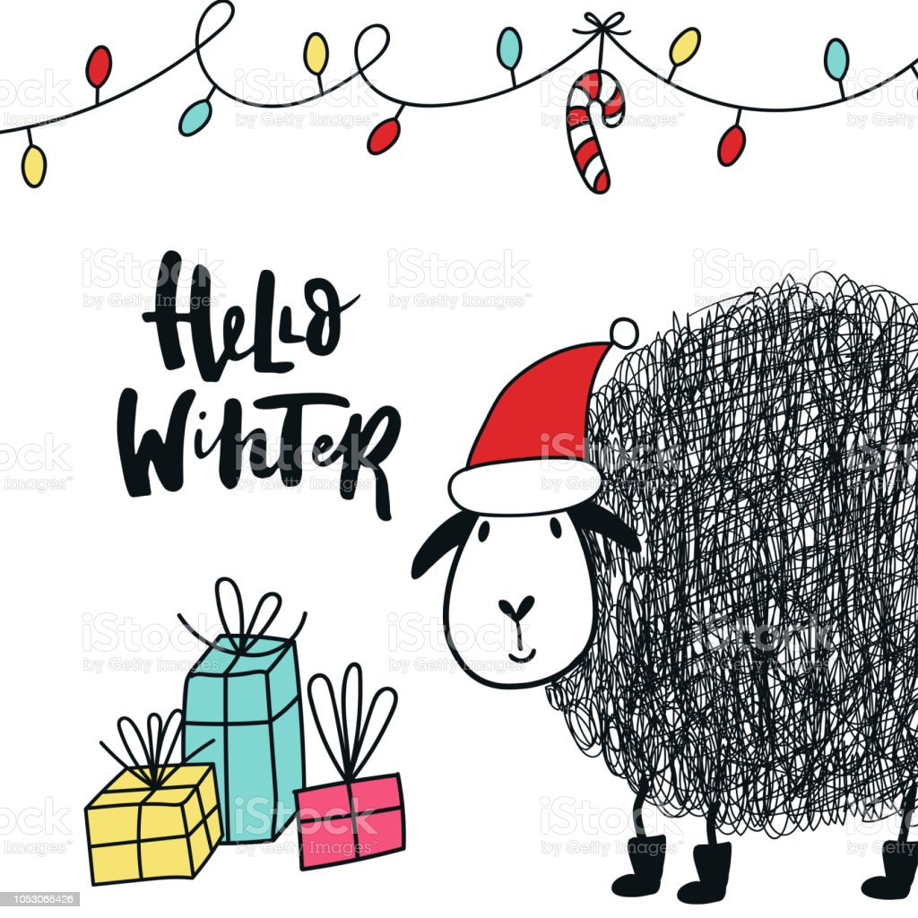 hello winter cute and fun new year card with sheep in santa hat decorations