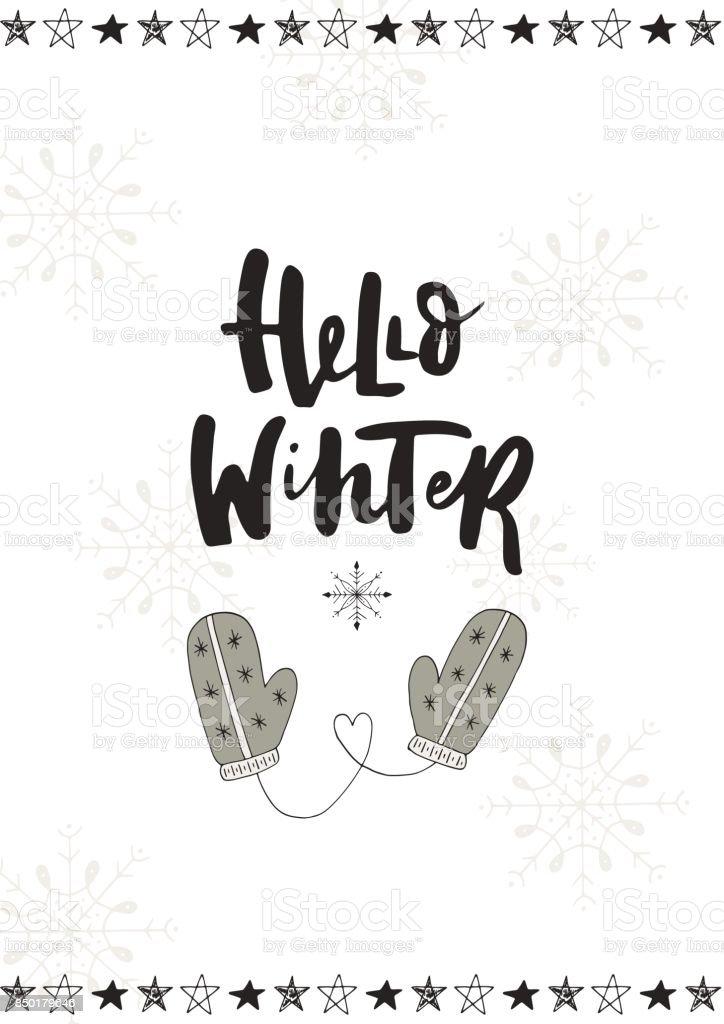 Ilustración de Hola Invierno Lindo Mano Dibujada Postal De Navidad ...