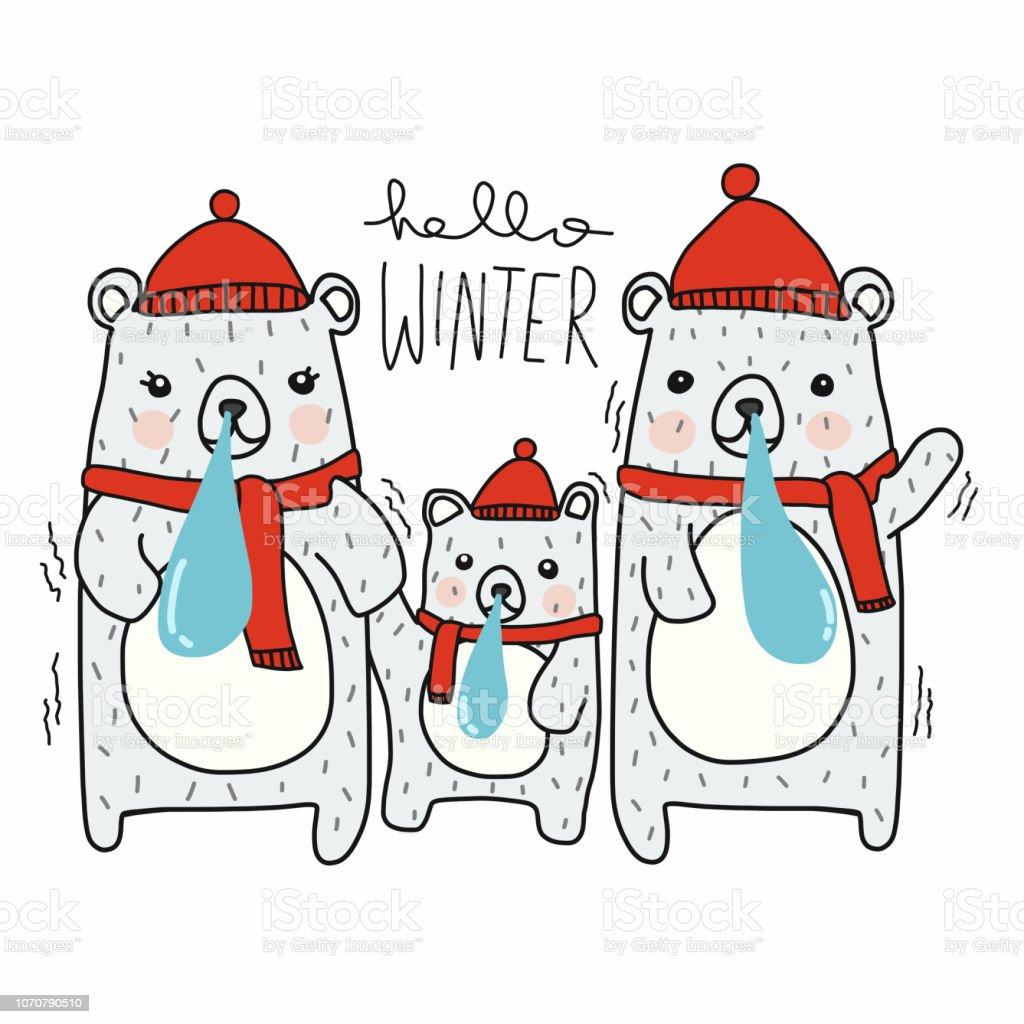 こんにちは冬かわいい白クマ家族漫画ベクトル落書きイラスト いたずら