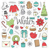 A collection of Christmas/Winter illustrations in a doodle style.