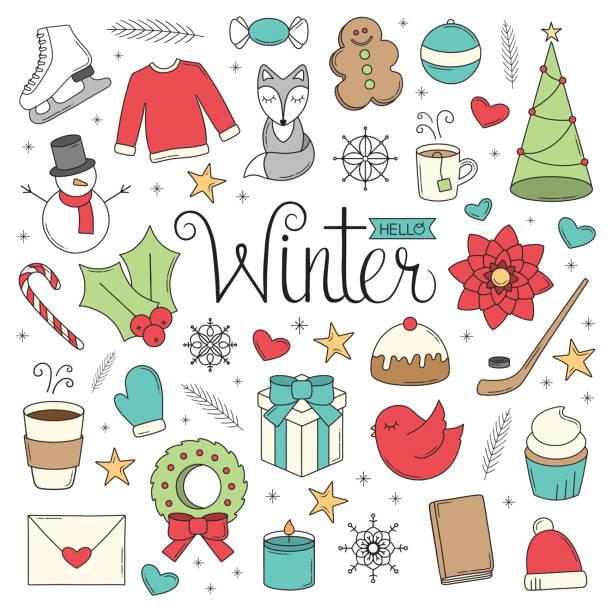 Hello Winter Doodles vector art illustration