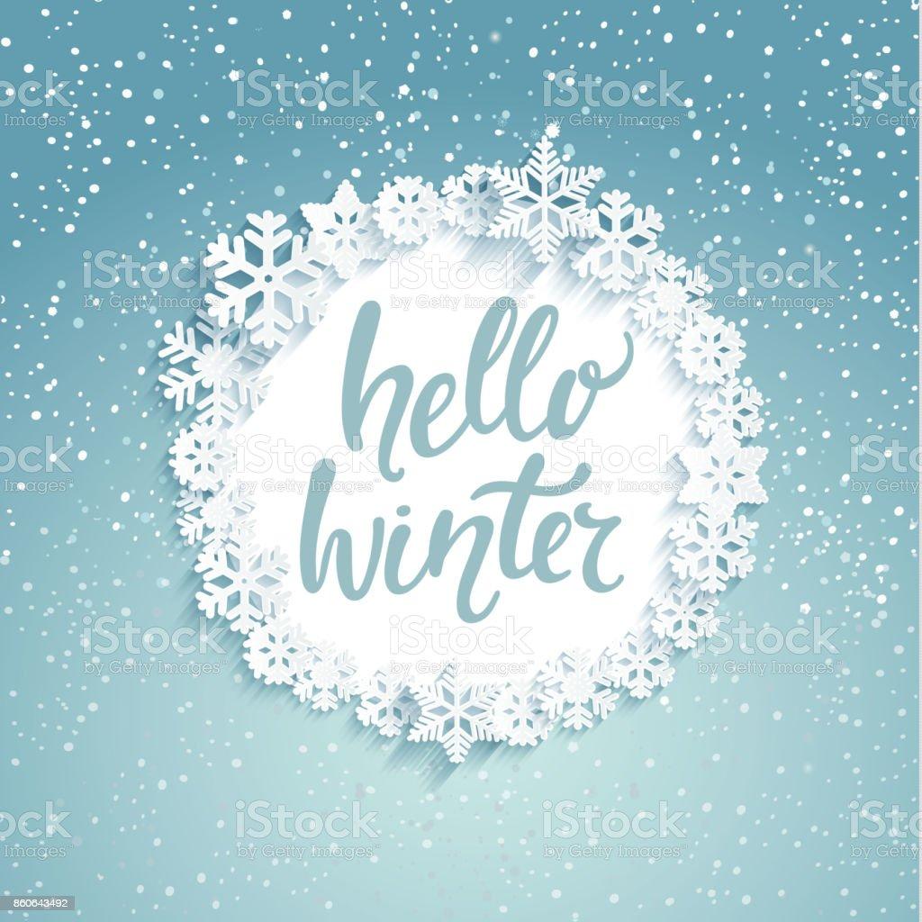 Hello winter greeting card stock vector art more images of hello winter greeting card royalty free hello winter greeting card stock vector art amp m4hsunfo