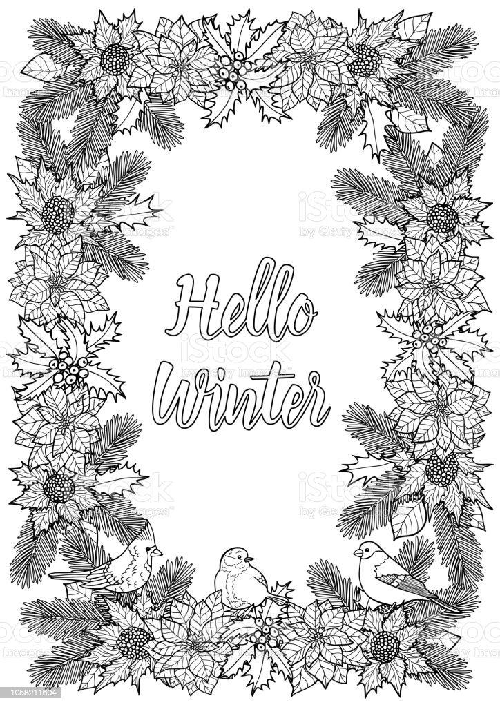 Merhaba Doğal çerçeve Ve Kuş Kış Tebrik Boyama Sayfası Stok Vektör