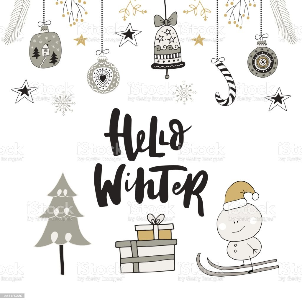 Weihnachtskarten Clipart.Hello Winter Hand Drawn Christmas Card With Lettering And Decoration