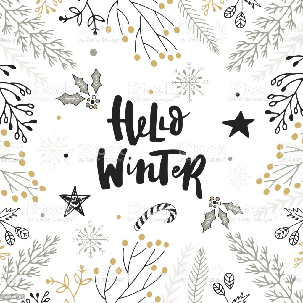 hello winter hand drawn christmas lettering with floral and decorations cute new year clip