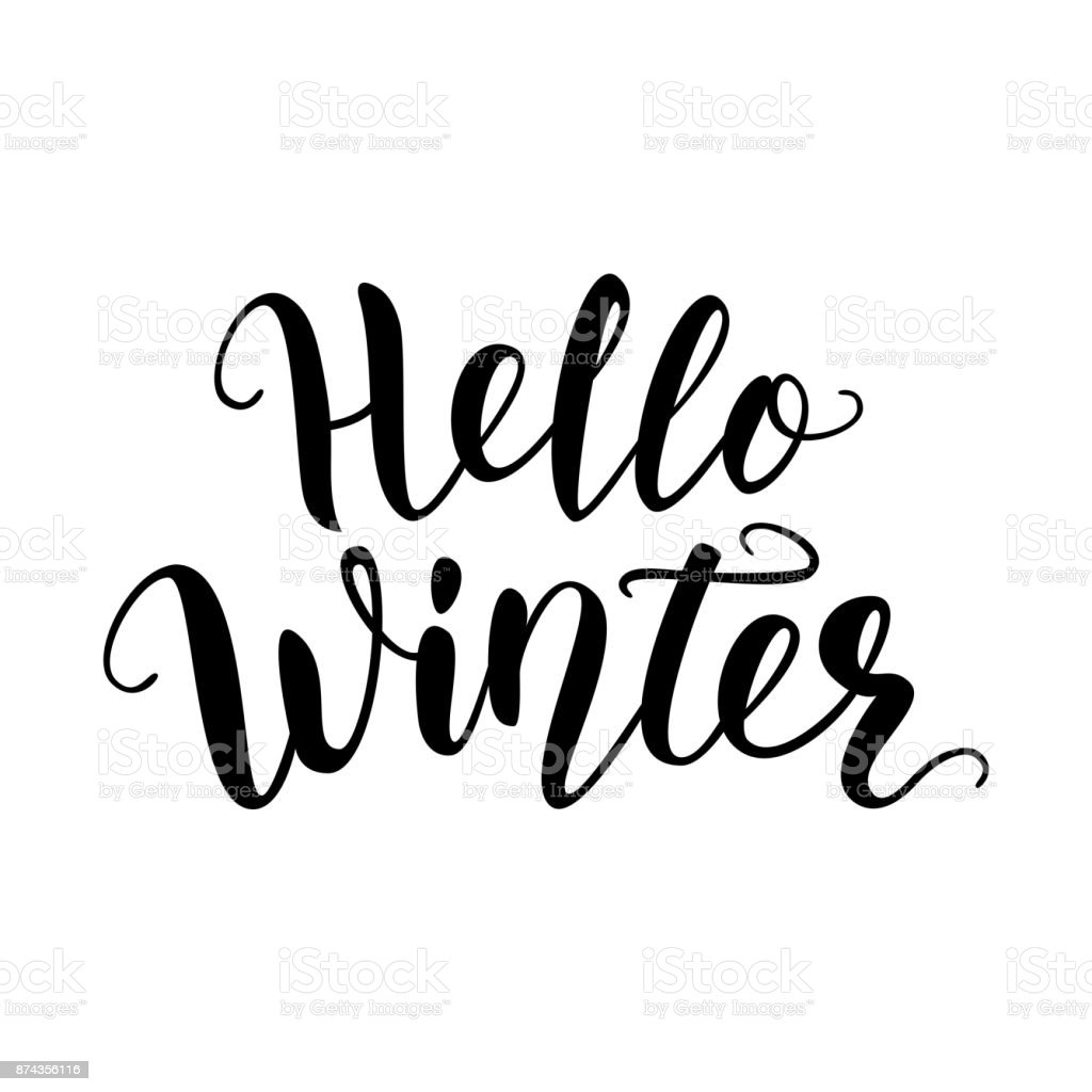 Hello winter hand lettering quote logo brush calligraphy