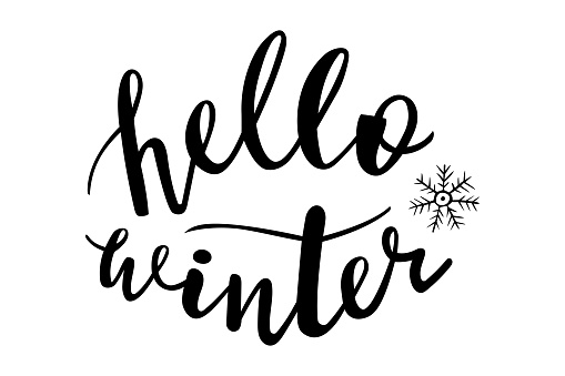 Hello winter hand lettering vector, christmas holidays season quotes and phrases for cards, banners, posters, scrapbooking, pillow, cups and clothes design.
