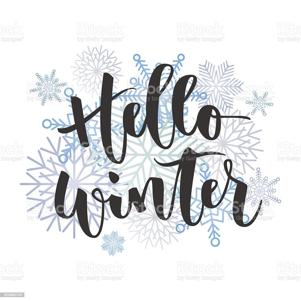 Hello winter hand written inscription - ilustración de arte vectorial