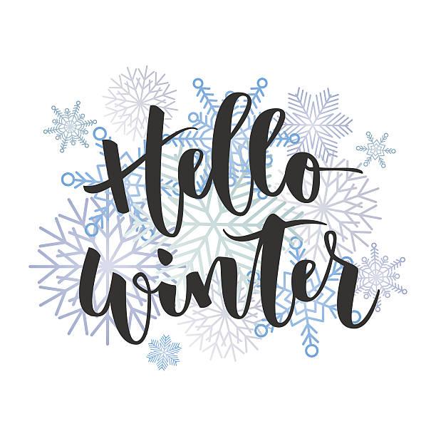 hello winter hand written inscription - winter stock illustrations, clip art, cartoons, & icons