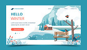 Hello winter, landscape with cute bench in the park. Landing page template. Vector illustration in flat style