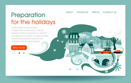 Hello winter, landscape with snowfall, houses and red car. Landing page template.
