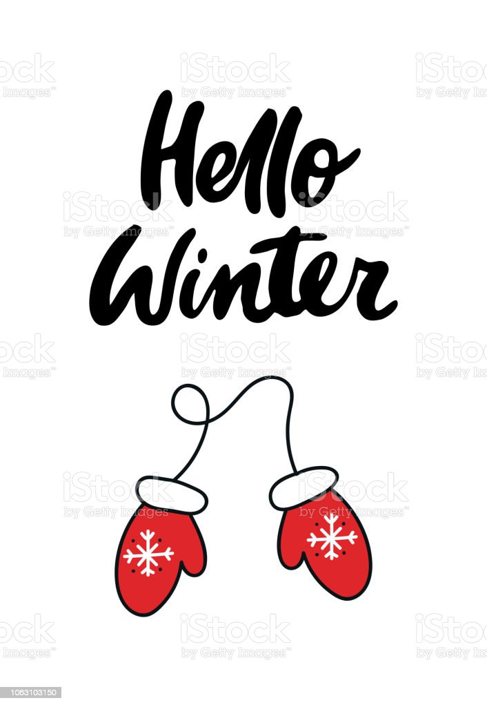 hello winter new year card with hand drawn lettering and santas mittens vector illustration
