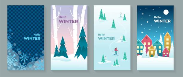 illustrazioni stock, clip art, cartoni animati e icone di tendenza di ciao cartoline invernali o immagini di sfondo - negozio sci