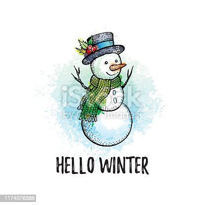 Hello Winter poster. Cute snowman in hand drawn doodle sketched style. Holiday concept. Black line icon with color watercolor grunge splash elements. Vector illustration isolated on white background.