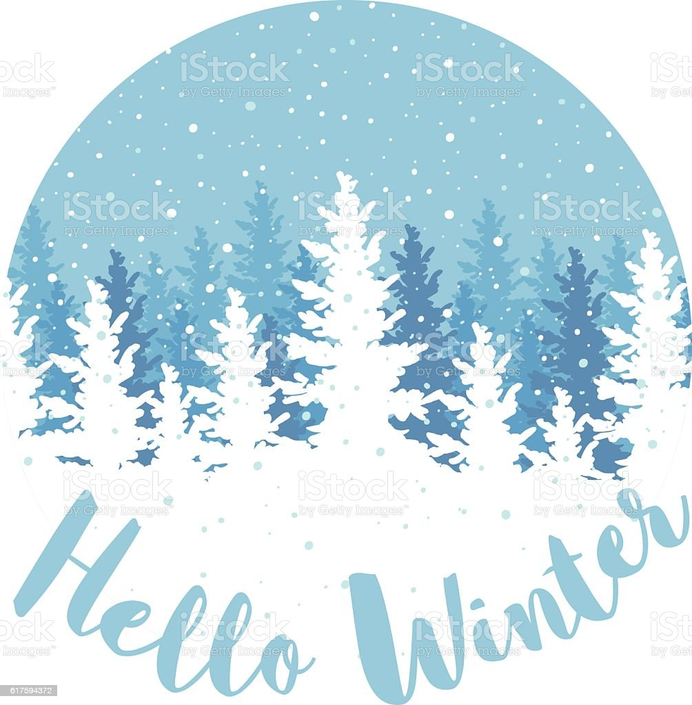 hello winter poster stock vector art more images of. Black Bedroom Furniture Sets. Home Design Ideas