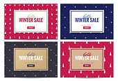 Hello winter sale poster. Beautiful background with winter patterns and frame. Voucher discount. Vector illustration