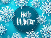 Hello winter vector greeting banner template. Snowflakes with hello winter text and space for message in blue background design. Vector Illustration.