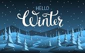 hello winter  xmas christmas happy new year seasonal night background with cartoon pine trees snow and mountain silhouette