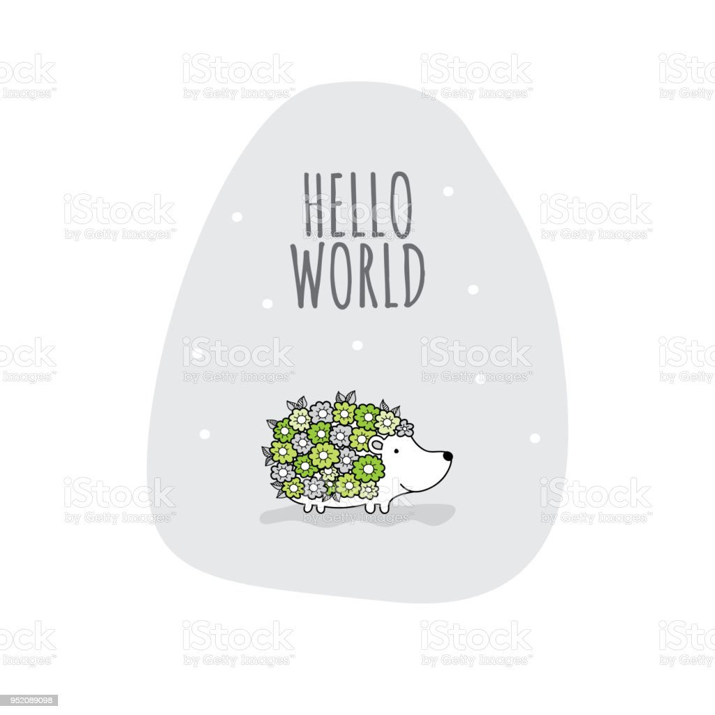Hello World with Flower Hedgehog Doodle Vector vector art illustration