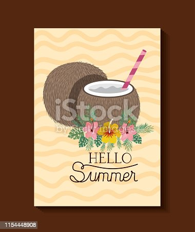 Hello summer and vacation design, Beach tropical relaxation outdoor nature tourism island and season theme Vector illustration