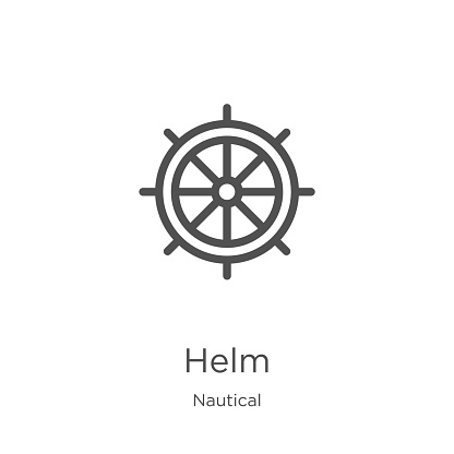 helm icon vector from nautical collection. Thin line helm outline icon vector illustration. Outline, thin line helm icon for website design and mobile, app development.