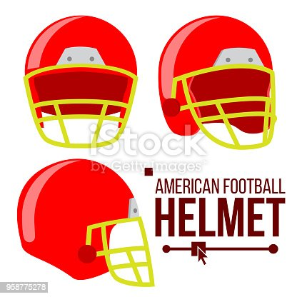 istock Helmet American Football Vector. Classic Red Rugby Head Protection Helm. Sport Equipment. Isolated Flat Illustration 958775278