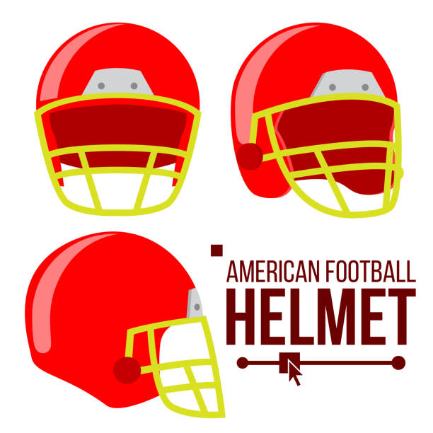 Helmet American Football Vector. Classic Red Rugby Head Protection Helm. Sport Equipment. Isolated Flat Illustration Helmet American Football Vector. Classic Red Rugby Head Protection Helm. Sport Equipment. Flat Illustration football helmet stock illustrations