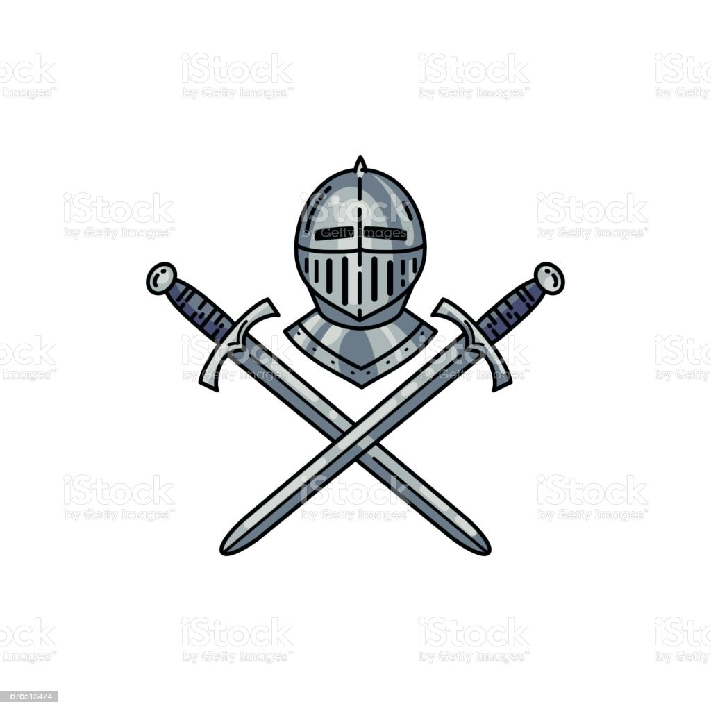 Helmet and crossed swords vector art illustration